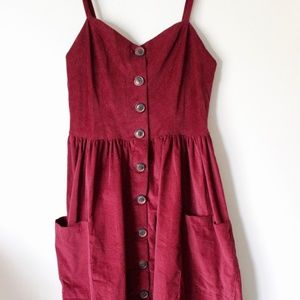 Wine Button-Down Corduroy Dress
